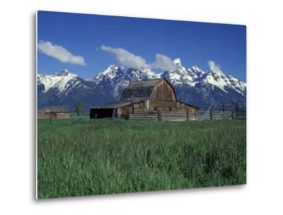 Jackson Hole Homestead and Grand Teton Range, Grand Teton National Park, Wyoming, USA-Jamie & Judy Wild-Metal Print