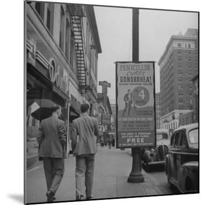 Sign Advertising Penicillin as Treatment For Gonorrhea-Sam Shere-Mounted Photographic Print