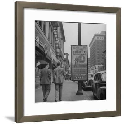 Sign Advertising Penicillin as Treatment For Gonorrhea-Sam Shere-Framed Photographic Print