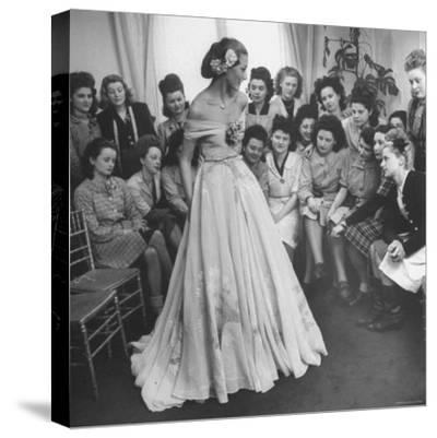 Young Woman Modeling the Lafaurie's Finished Product For the Tailors Before the Showing-Nina Leen-Stretched Canvas Print