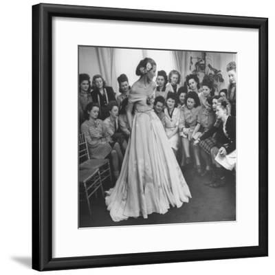 Young Woman Modeling the Lafaurie's Finished Product For the Tailors Before the Showing-Nina Leen-Framed Photographic Print