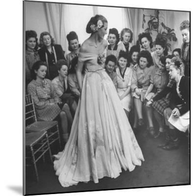 Young Woman Modeling the Lafaurie's Finished Product For the Tailors Before the Showing-Nina Leen-Mounted Photographic Print