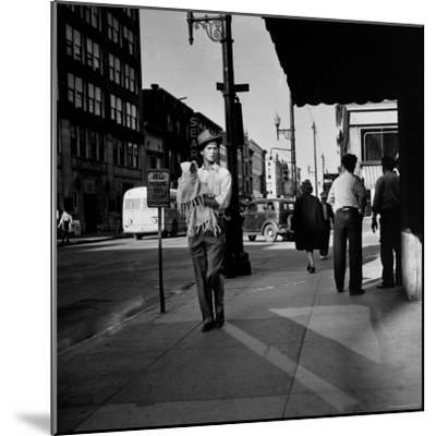 Street Scene with Village Atmosphere, Man Carrying Baby-Walker Evans-Mounted Photographic Print