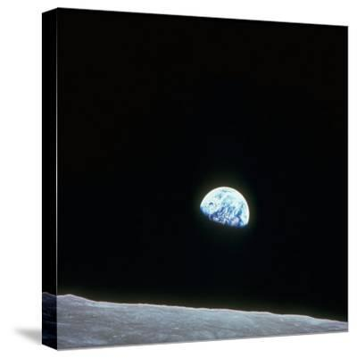 Earth Rising over Curvature of the Moon as Seen from Apollo 8--Stretched Canvas Print