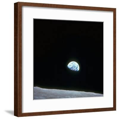 Earth Rising over Curvature of the Moon as Seen from Apollo 8--Framed Photographic Print