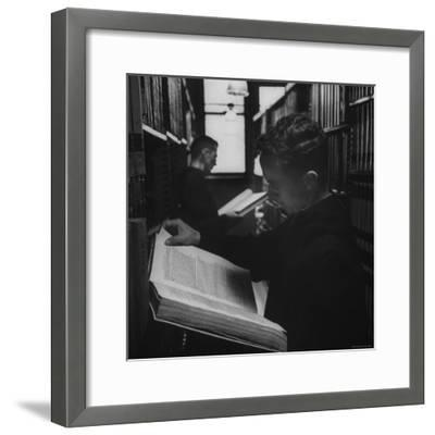 Two Monks in the Library at St. Benedicts Abbey-Gordon Parks-Framed Photographic Print