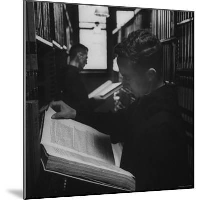 Two Monks in the Library at St. Benedicts Abbey-Gordon Parks-Mounted Photographic Print