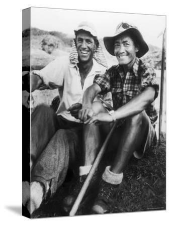 Edmund Hillary and Nepalese Sherpa Guide Tenzing Norgay Sitting Together-James Burke-Stretched Canvas Print