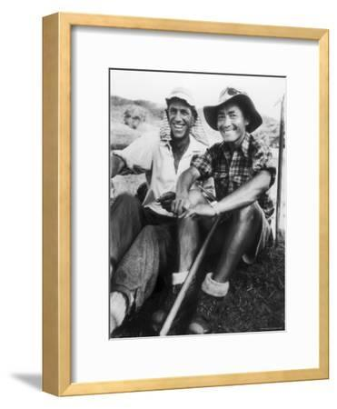 Edmund Hillary and Nepalese Sherpa Guide Tenzing Norgay Sitting Together-James Burke-Framed Premium Photographic Print