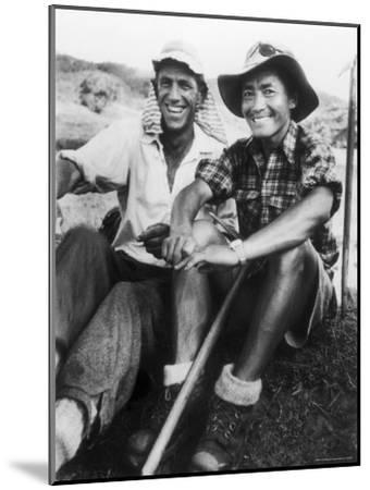 Edmund Hillary and Nepalese Sherpa Guide Tenzing Norgay Sitting Together-James Burke-Mounted Premium Photographic Print