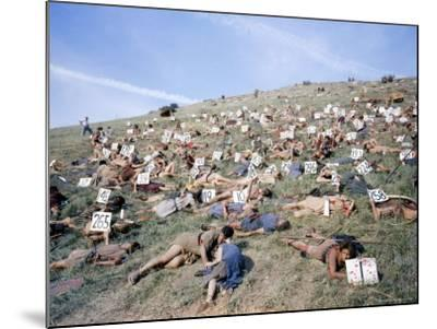 """Extras Playing Dead People Hold Numbered Cards Between Takes During Filming of """"Spartacus""""-J^ R^ Eyerman-Mounted Photographic Print"""