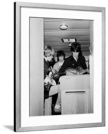 Members of the Rolling Stones Checking Their Instruments Before a Concert at Forest Hills Stadium-Walter Daran-Framed Premium Photographic Print