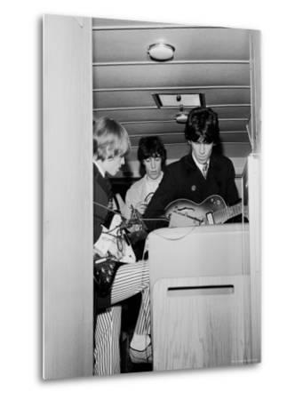 Members of the Rolling Stones Checking Their Instruments Before a Concert at Forest Hills Stadium-Walter Daran-Metal Print