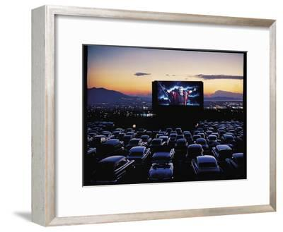 "Charlton Heston as Moses in Motion Picture ""The Ten Commandments"" Shown at Drive in Movie Theater-J^ R^ Eyerman-Framed Premium Photographic Print"