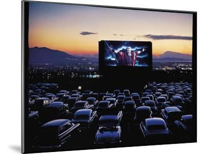 "Charlton Heston as Moses in Motion Picture ""The Ten Commandments"" Shown at Drive in Movie Theater-J^ R^ Eyerman-Mounted Premium Photographic Print"
