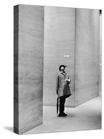 French Actor Jacques Tati Looking at the High Ceiling of an Office Lobby-Yale Joel-Stretched Canvas Print