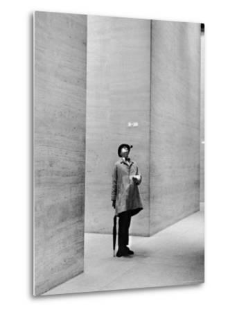 French Actor Jacques Tati Looking at the High Ceiling of an Office Lobby-Yale Joel-Metal Print