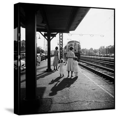 Insurance Broker Charles Hoffman's Wife Bringing Children to Train Station to Wait for His Arrival-Nina Leen-Stretched Canvas Print