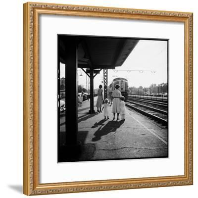 Insurance Broker Charles Hoffman's Wife Bringing Children to Train Station to Wait for His Arrival-Nina Leen-Framed Photographic Print