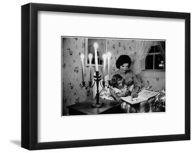 Wife of Senator Jackie Kennedy Reading Book to Her Daughter Caroline In Family's summer home-Alfred Eisenstaedt-Framed Photographic Print