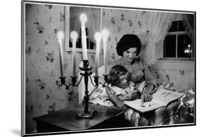 Wife of Senator Jackie Kennedy Reading Book to Her Daughter Caroline In Family's summer home-Alfred Eisenstaedt-Mounted Photographic Print