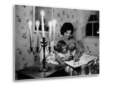 Wife of Senator Jackie Kennedy Reading Book to Her Daughter Caroline In Family's summer home-Alfred Eisenstaedt-Metal Print