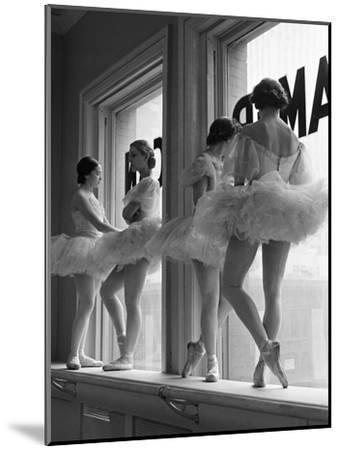 Ballerinas on Window Sill in Rehearsal Room at George Balanchine's School of American Ballet-Alfred Eisenstaedt-Mounted Premium Photographic Print