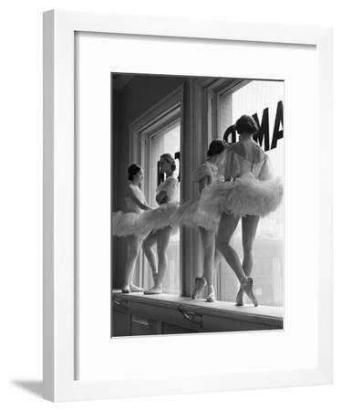 Ballerinas on Window Sill in Rehearsal Room at George Balanchine's School of American Ballet-Alfred Eisenstaedt-Framed Photographic Print