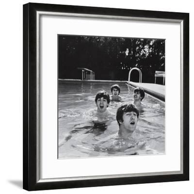 Paul McCartney, George Harrison, John Lennon and Ringo Starr Taking a Dip in a Swimming Pool-John Loengard-Framed Premium Photographic Print