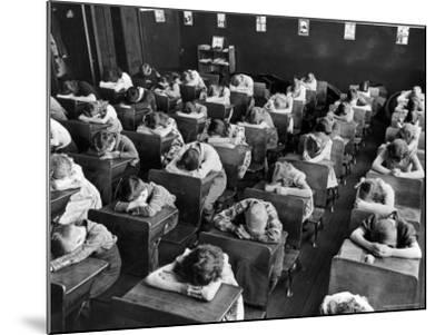 Elementary School Children with Heads Down on Desk During Rest Period in Classroom-Alfred Eisenstaedt-Mounted Photographic Print