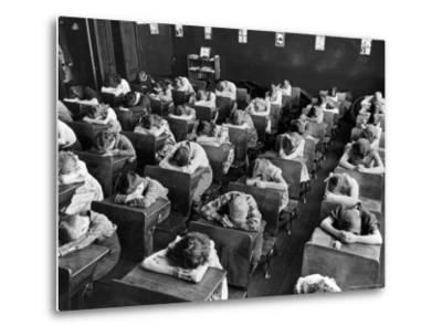Elementary School Children with Heads Down on Desk During Rest Period in Classroom-Alfred Eisenstaedt-Metal Print