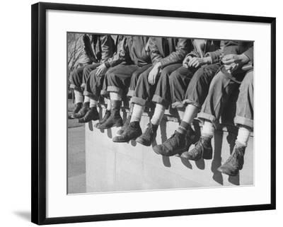 """Boys Sporting Their Latest Fad of Wearing G.I. Shoes Which They Call """"My Old Lady's Army Shoes""""-Alfred Eisenstaedt-Framed Photographic Print"""