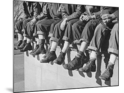 """Boys Sporting Their Latest Fad of Wearing G.I. Shoes Which They Call """"My Old Lady's Army Shoes""""-Alfred Eisenstaedt-Mounted Photographic Print"""