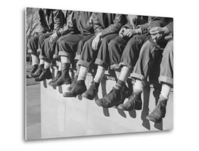 """Boys Sporting Their Latest Fad of Wearing G.I. Shoes Which They Call """"My Old Lady's Army Shoes""""-Alfred Eisenstaedt-Metal Print"""