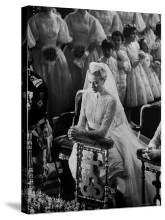 Actress Grace Kelly in Gorgeous Wedding Gown Praying During Her Wedding to Prince Rainier-Thomas D^ Mcavoy-Stretched Canvas Print