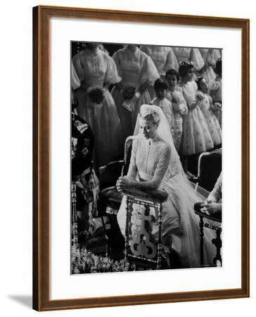 Actress Grace Kelly in Gorgeous Wedding Gown Praying During Her Wedding to Prince Rainier-Thomas D^ Mcavoy-Framed Premium Photographic Print