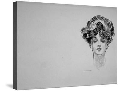 """Portrait of """"Gibson Girl,"""" from Drawings Including Weaker Sex: the Story of a Susceptible Bachelor-Charles Dana Gibson-Stretched Canvas Print"""