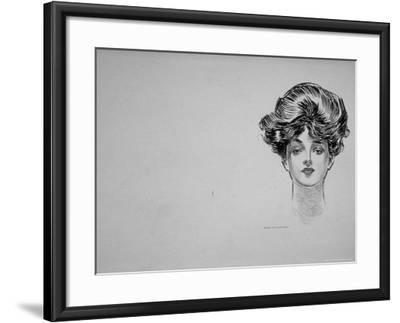 """Portrait of """"Gibson Girl,"""" from Drawings Including Weaker Sex: the Story of a Susceptible Bachelor-Charles Dana Gibson-Framed Photographic Print"""