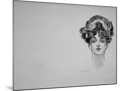 """Portrait of """"Gibson Girl,"""" from Drawings Including Weaker Sex: the Story of a Susceptible Bachelor-Charles Dana Gibson-Mounted Photographic Print"""