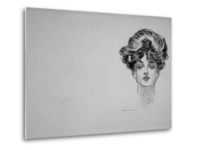 """Portrait of """"Gibson Girl,"""" from Drawings Including Weaker Sex: the Story of a Susceptible Bachelor-Charles Dana Gibson-Metal Print"""