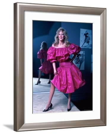 Actress Morgan Fairchild Wearing Pink Dress, Reflected by Mirror-David Mcgough-Framed Premium Photographic Print