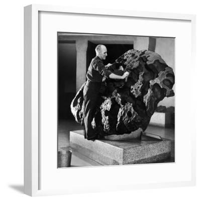 Museum Attendant Cleaning 14 Ton Willmette Meteorite, the Largest Found in the US-Jack Birns-Framed Photographic Print