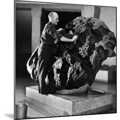 Museum Attendant Cleaning 14 Ton Willmette Meteorite, the Largest Found in the US-Jack Birns-Mounted Photographic Print