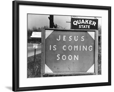 Penna US 1 Highway Sign Left of Quaker State Sign Looming Above Jesus is Coming Soon Billboard-Margaret Bourke-White-Framed Photographic Print