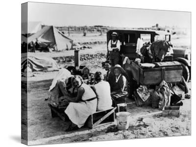 Suppertime for Oklahoma Family Follow Crops from California to Washington during the Depression-Dorothea Lange-Stretched Canvas Print