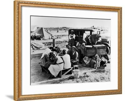 Suppertime for Oklahoma Family Follow Crops from California to Washington during the Depression-Dorothea Lange-Framed Photographic Print