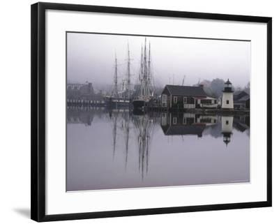 Scenic Harbor View with Masted Ships and Buildings Reflected in Placid Waters at Mystic Seaport-Alfred Eisenstaedt-Framed Photographic Print
