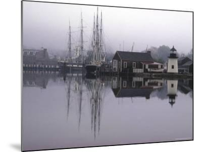 Scenic Harbor View with Masted Ships and Buildings Reflected in Placid Waters at Mystic Seaport-Alfred Eisenstaedt-Mounted Photographic Print