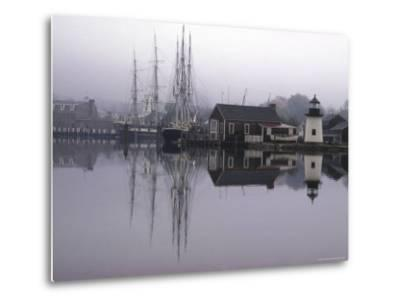 Scenic Harbor View with Masted Ships and Buildings Reflected in Placid Waters at Mystic Seaport-Alfred Eisenstaedt-Metal Print