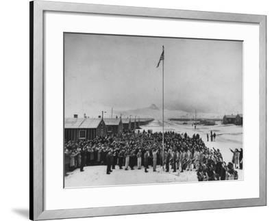 Nisei Japanese Americans Participating in Flag Saluting Ceremony at Relocation Center During WWII-Hansel Mieth-Framed Photographic Print